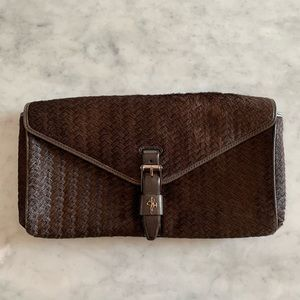 COLE HAAN leather pony hair clutch